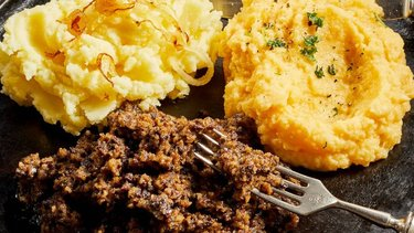 Scottish haggis served with mashed potato and turnip