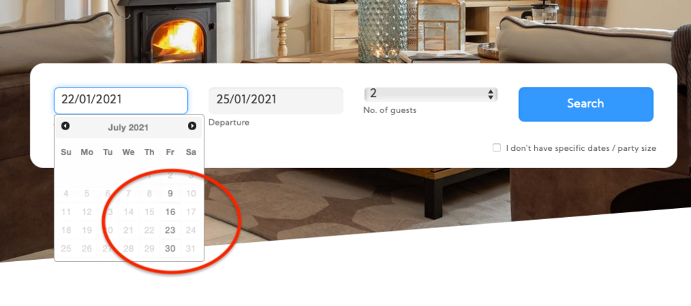Smart Date Search - Only the available arrival dates are shown as selectable (© 2020 Bookster)