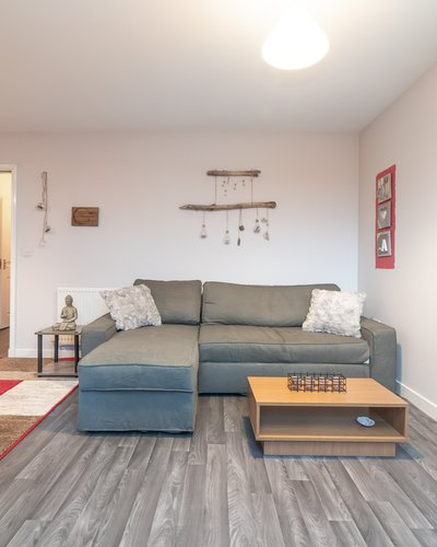 Lochend Park View (New) 3 - Open plan living room / kitchen in Edinburgh holiday apartment with pull out sofa bed