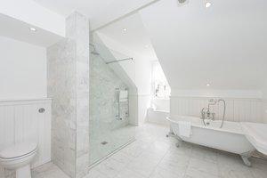 Main bathroom with elegant modern shower and vintage bathtub.