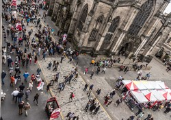 view from St Giles during the Edinburgh festival.