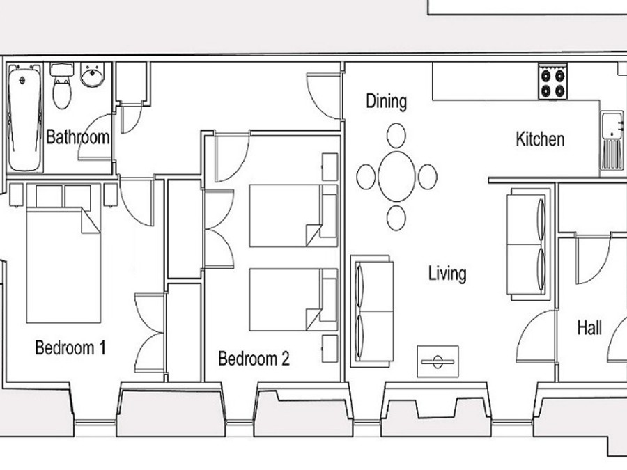 Osprey Floorplan - Layout of Osprey Apartment - not to scale