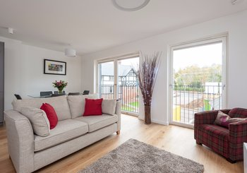 Cruickshank Gardens 1 - Contemporary open plan living area with large, bright windows