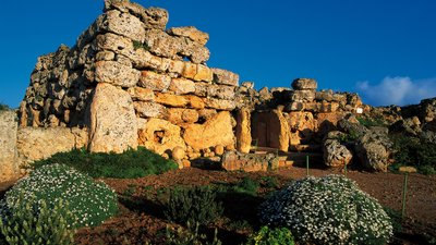 Autumn holidays in Gozo visiting Ggantija Temples - Autumn sunlight over the Ggantija Temples, from a holiday in Gozo
