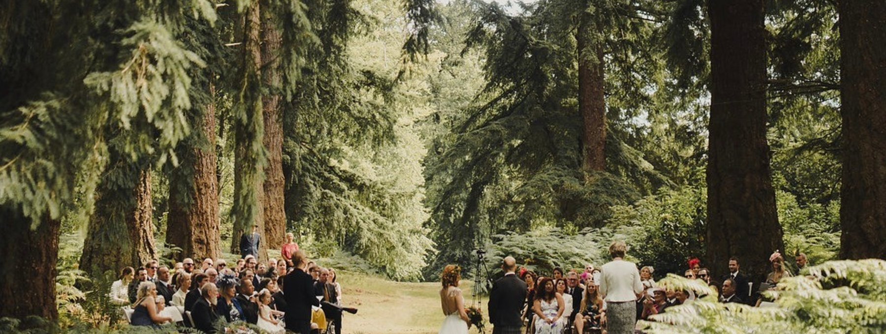 Humanist wedding at Murthly Estate - The Douglas fir terrace is the perfect woodland setting for a humanist wedding at Murthly Estate.