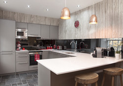Modern fully equipped open plan kitchen