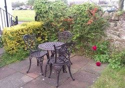 Private patio garden, Lodge Cottage Gullane