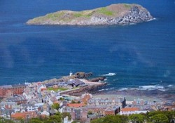View of North Berwick's  harbour from The Law