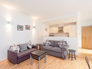 Edmonstone's Close (Grassmarket) 7 - Modern family living space with comfortable sofas, dining table and kitchen