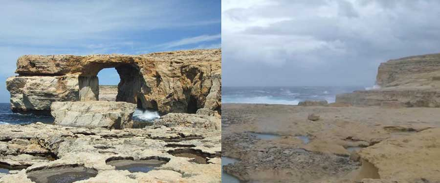 """Gozo's Azure Window Before and After"""