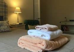 Fluffy towels are provided for guests