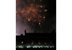 New Year fireworks over Edinburgh Castle. Photograph taken from the living room window at Castle View Apartment.