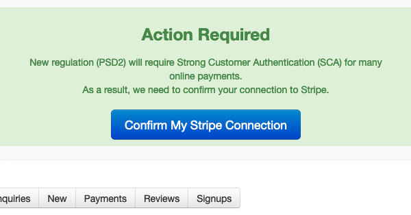 Update Stripe <-> Bookster - Bookster may ask you to confirm your Stripe connection with Bookster to comply with new EU regulations when they come in (© 2019 Tribalogic Limited)