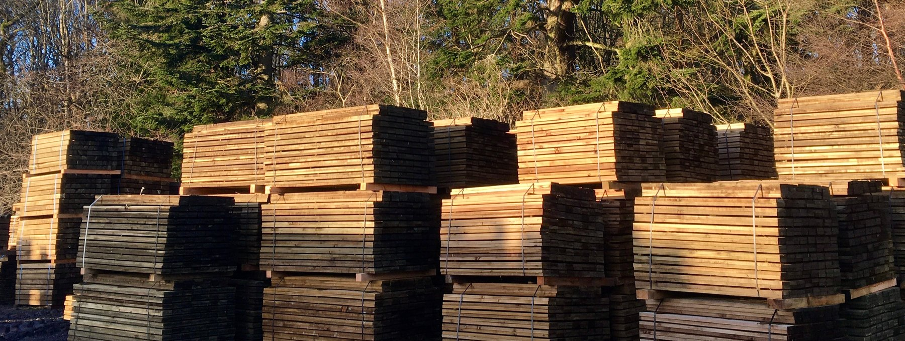 Murthly Sawmill stacked fencing products - Top-quality fencing products from  Murthly Sawmill (© Murthly Estate)