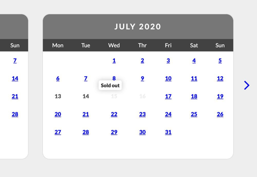 booking screens-sold-out - Guests can now hover over an unavailable date and see that there it is sold out on that date (© Bookster 2020)