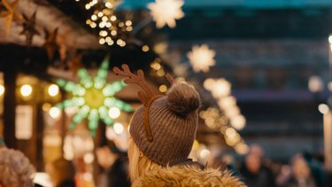 Colourful lights at Edinburgh Christmas market