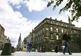 View of Parliament Square building on Royal Mile Edinburgh