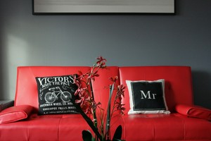 Red sofa with modern black and white cushions